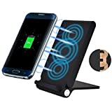 Folding Wireless Charger 10W Fast Charging Pad Stand Adapter [3-Coils] [Black] for Verizon Motorola Droid Turbo - Verizon Motorola Google Nexus 6 - Verizon Samsung Galaxy Note8 (SM-N950UZKAVZW)