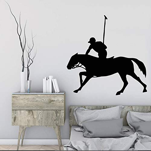 ganlanshu Pferdesport Ritter Pferd Kunst Design Wandmalerei kreative Mann Reiten Muster Vinyl Wandaufkleber Dekoration Wohnzimmer 129cmx138cm