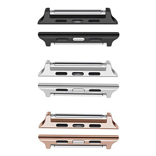 Aladrs [Bar de Primavera Kit Adaptador de Conector para Apple Watch Band Adaptador de Enlace de Acero Inoxidable Compatible con iWatch Sport Series 5/4/3/2/1 Cierre de Hardware