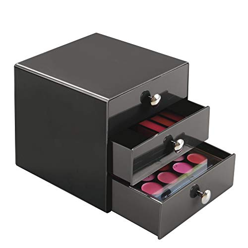 Price comparison product image iDesign Drawers Storage Box with Drawers for Make-Up,  Compact Cosmetic Organiser for Countertops or Wardrobes,  Sturdy Plastic,  Slate Grey