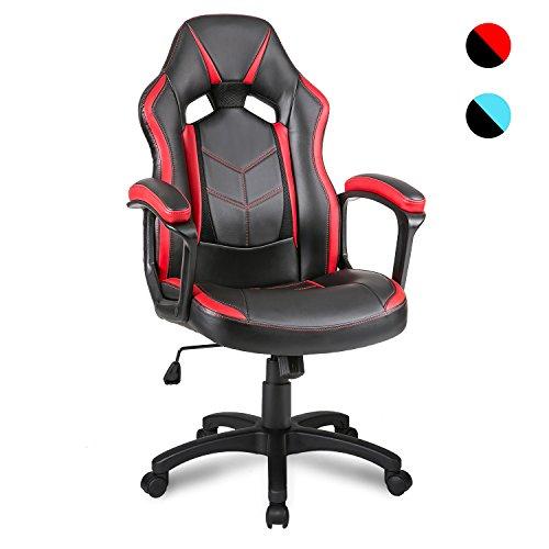 Merax Bürostuhl Schreibtischstuhl Drehstuhl Racing Stuhl Gaming Stuhl Sportsitz mit PU Kunstleder (Rot)