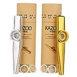 2 pcs Metal Kazoo instrumentos musicales, Metal Turutas Carnaval con 2 Membrana de Flauta, buen Compañero para Guitarra, Ukelele(2 Colores)