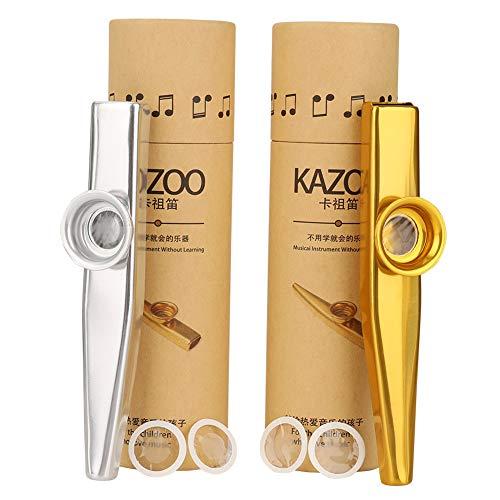 2 Stück Kazoo Metall, Kazoo Set mit Metall 4 Kazoo Membran, Original in Pappröhre verpackt(eine gute Begleiter für eine Gitarre, Ukulele)