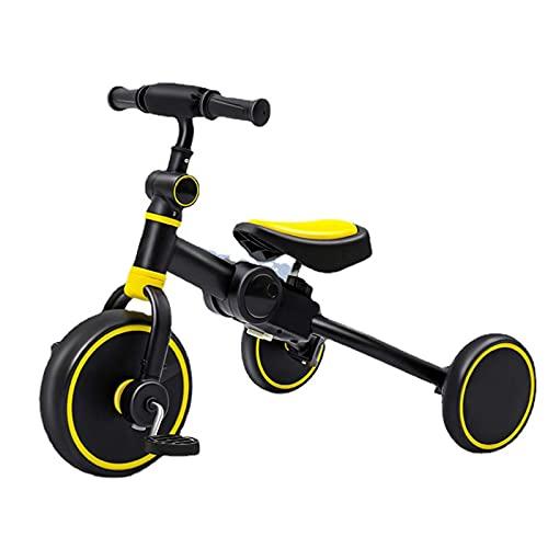 LINQ Trikes Childs - 2 en 1 Truco, Asiento Ajustable, Marco de Acero de Alto Carbono, Adecuado para niños de 1 a 6, Blanco (Color : Yellow)
