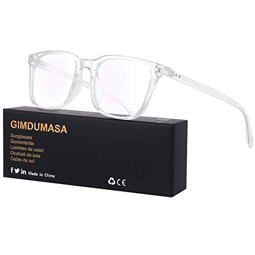 Gimdumasa Blaulichtfilter Brille Computerbrille Pc Gaming Bluelight Filter Uv Blueblocker Glasses Anti Damen Herren Ohne Stärke Entspiegelt (Durchsichtig)