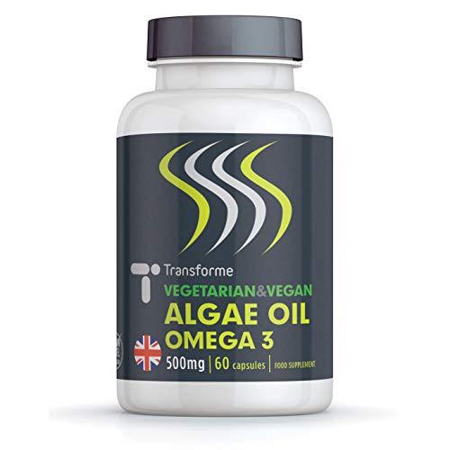 Vegan Omega 3 Algae Oil with Vitamin E, 60 Rapid Absorption Capsules, Marine Algal Oil DHA, Easy to Swallow Softgels, Vegetarian Fish Free Essential Fatty Acids, by Transforme