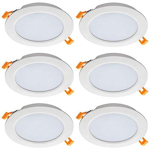 JUMRO Foco empotrable led Techo,Iluminacion 7W(Equivalente 70W) Downlight Redondo extraplano, 700 lumens,Blanco Super Slim,Ojos de Buey de led 6 Pack