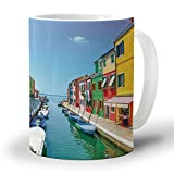 Ceramic Coffee Mug 12 Oz Scenic Views of Venice Canal Boat Italy Town Landscape Large Handles Cup for Tea/Milk/Cocoa| Home and Office Use| Gift for Man/Women