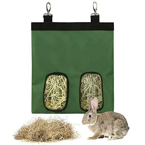 Bolsa Heno de Conejo,Guador 1 Piezas Comedero de Heno para Mascotas Bolsa de Heno Alimentador Colgante Saco para Conejillo de Indias Chinchilla Hamsters Animales Pequeños (Verde)