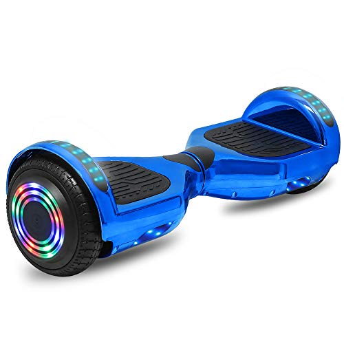 cho Electric Hoverboard Smart Self Balancing Scooter Hover Board Built-in Speaker LED Wheels Side Lights for Kids- Safety Certified (-Chrome Blue)