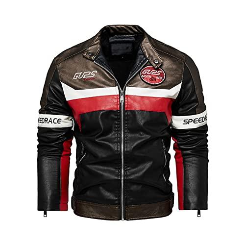 ACCZ Giacca in Pelle Pu di Alta qualità da Uomo Fodera in Caldo Pile Giacca in Pelle da Moto Patchwork Moda,Marrone,L
