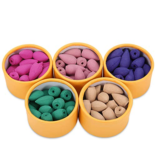 Jeteven 100pcs Natur Räucherkegel Set Mix 5 verschiedenen Düfte Rückfluss Kegel sandelholz Räucherkerze Aromatherapy großpackung, Grüner Tee Sandelholz Lavendel Rose Kirschblüten (100PCS)