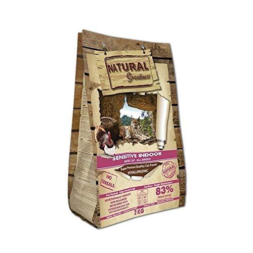 Natural Greatness Pienso Gatos Esterilizados, Senior o de Interior No Gluten Hipoalergénico Saco 2 kg Incluye 3 Latas Comida Húmeda | ANIMALUJOS (Saco 2 KG)