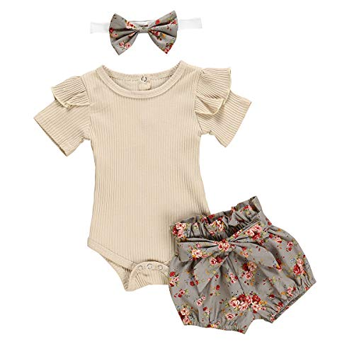 Newborn Baby Girls Clothes Floral Sleeve Romper+ Floral Short Pant 3pcs Summer Outfit 6-12 Months Gray