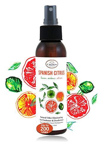 Natural Room Deodorizer Spray Air Freshener (Spanish Citrus 1PK)   Lemon Citrus Verbena Naturals Deodorize Freshener for Rooms & Odor Using Essential Oils