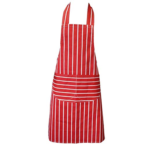 Kochschürze, Rot, Schürze mit zwei Fronttaschen und maschinenwaschbar, Küchenschürze