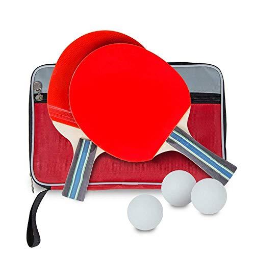 JIANGCJ bajo Precio. Ping Pong Paddle Raqueta de Tenis Tiro Acabado Tiro for Principiantes Tapa de Tenis de Mesa Raqueta Larga y Corta Handilla Recta Horizontal 3 Bola 1 Racket Shake Hands Han