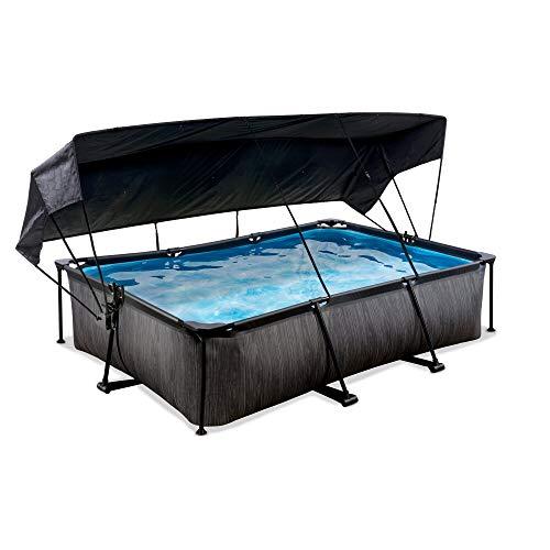 EXIT - Rahmenpool Black Wood - rechteckig, 300x200x65cm, Schwarze Holzoptik, inklusive Filterpumpe und Sonnensegel, kompakter Pool für Kinder