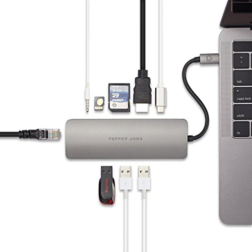 "Pepper Jobs USB C Hub 9 in 1 USB C Adapter TCH-6 w/4K HDMI, 3 USB 3.0, SD/Micro SD Card Reader, USB-C Charging, 3.5mm Audio and Gigabit Ethernet for MacBook Pro 13"" 15"" 2017,Dell XPS and More"