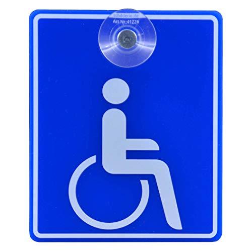 Saugnapfschild Schild Rollstuhlfahrer Behindertenschild 100x120mm für Auto Scheiben Innenbefestigung