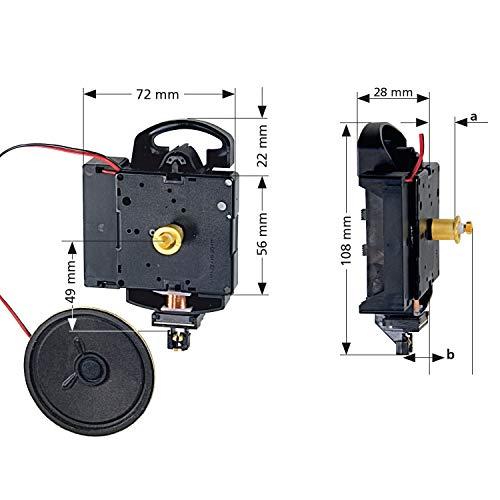 Hermle Quarzpendeluhrwerk 2214 - Ideal für Uhren-Selbermacher - Bim-Bam- oder Westminsterschlag wählbar (ZWL 15mm)