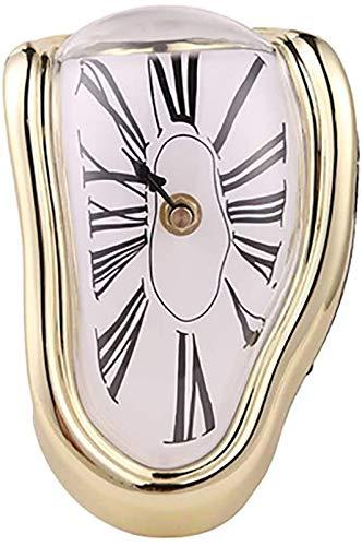 Faus Koco Reloj de Escritorio de Cuarzo, Arte Decorativo para el hogar Creativo Sin tictac Operado de relojería Reloj de fusión de la Tabla Tiempo de fusión Flow-White 18x12x5cm (7x5x2inch)