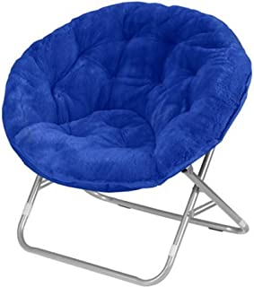 Mainstay Faux-Fur Saucer Chair with Cool Faux-Fur Fabric, Soft and Wide seat, Perfect for Lounging, dorms or Any Room in Multiple Colors (Royal Spice)