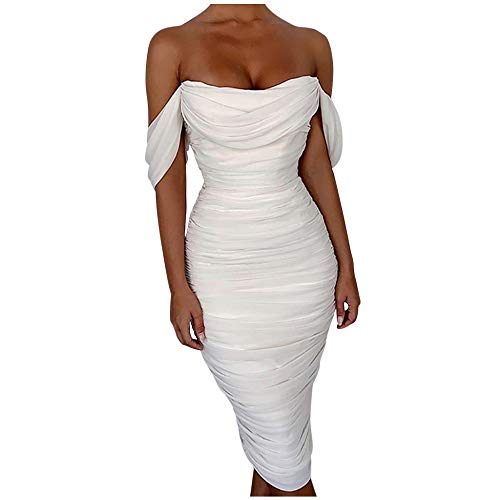 Vestidos Bandeau de Fiesta para Bodas de Noche, Dragon868 Vestidos de Gasa Sexy Mujer de Elegante, Vestido de Color Sólido con FríO Hombro, Arrugas Bodycon Dresses Rebajas