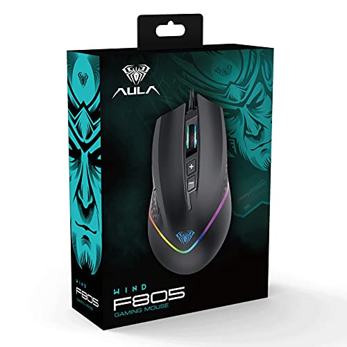 AULA F805 Wired Gaming Mouse, with Side Buttons Programmable, RGB Rainbow Backlit, 6 Levels DPI Adjustable, Ergonomic Optical PC Gaming Mice, for USB Laptop, Desktop Computer Games & Work (Black)
