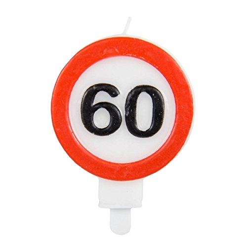 Folat Zahlenkerze * Verkehrsschild Zahl 60 * // Verkehrszeichen Geburtstagsk