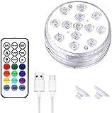 XXSHN Lámpara de Piscina RGB Multicolor con luz subacuática con Control Remoto RF con imanes Ventosas Luces LED sumergibles para Piscina SPA Base de jarrón Pecera Estanque Decoraciones para el hogar