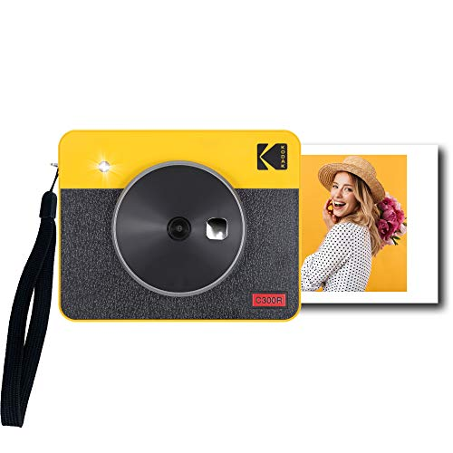Kodak Mini Shot 3 Retro Tragbare Kabellose Sofortbildkamera und Fotodrucker, iOS & Android, Bluetooth, 76 x 76 mm, 4Pass-Technologie, 8 Blatt - Gelb