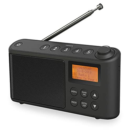 i-box 79234PI/14 Radio Dab/Dab+ & FM, Alimentation Secteur et Batterie, Radio numérique Dab Portable avec Chargement USB pour 15 Heures de Lecture Noir