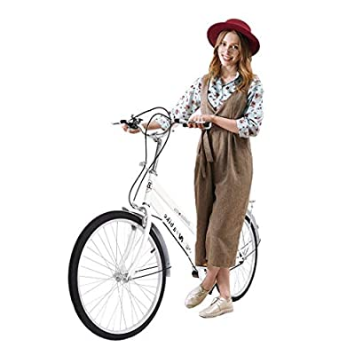 Tengma 24 Inch Womens Beach Cruiser Bike - Adult Teens Hybrids Cycle, Unisex Classic Iron Bicycle Retro Bicycle Unique, Road Bike, Seaside Travel Bicycle, Comfortable Commuter Bicycle, White