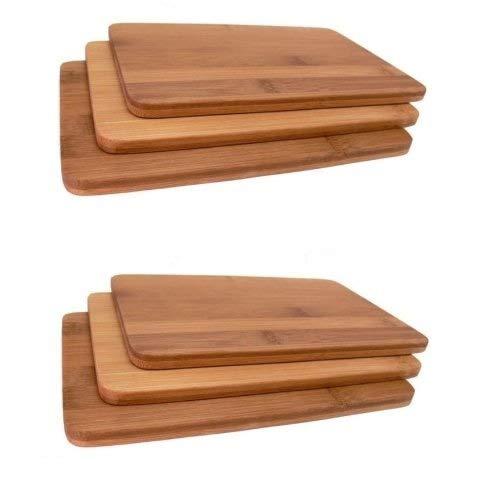 6 Stück Neustanlo Frühstücksbrettchen Bambus Holz Vesperbrettchen Brettchen Brotzeitbrettchen