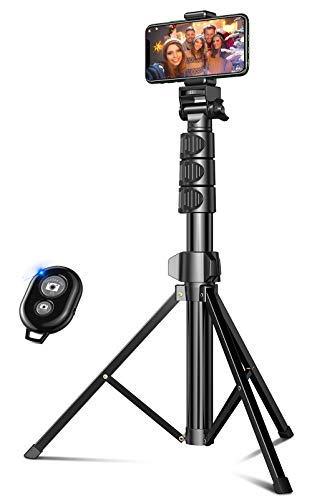 Cocoda Handy Stativ 142 cm Erweiterbar, Selfie Stick Stativ mit Bluetooth-Fernbedienung, Stativbeine Kompatibel mit iPhone 12 Pro Max, 12 Mini, 11 Pro Max, Samsung S20 Ultra, Gopro Action Kamera