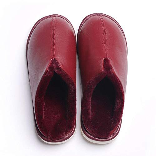 Flip Flop-GQ Zapatillas de casa de Felpa de Invierno Desodorante Antideslizante Zapatillas de Cuero de Interior de Fondo suave-37_Vino Tinto