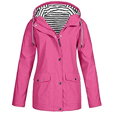 Keepmove Coat for Women Winter Sale, Women Solid Rain Jacket Outdoor Plus Size Waterproof Hooded Raincoat Windproof(Hot Pink, Large)