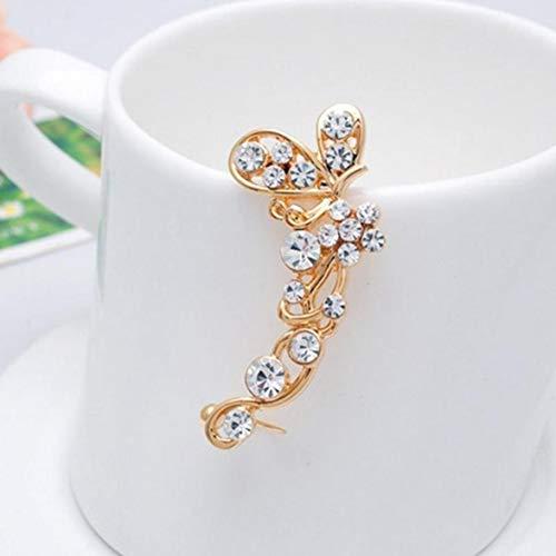 Sylvialuca 1 Stück Frauen Schmetterling Blume Ohrmanschette Ohrring Strass Ohrclip Lange einseitige Ohrringe durchbohrt weiblichen Partyschmuck