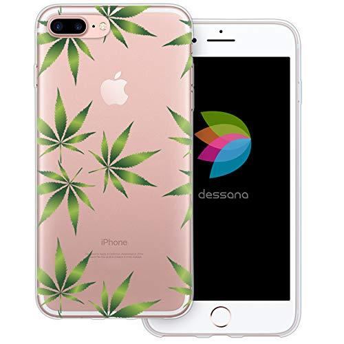 dessana Cannabis Weed durchsichtige Schutzhülle Handy Hülle Cover Tasche für Apple iPhone 8 Plus Cannabis Muster