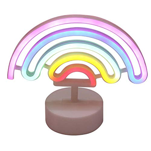 MyWheelieBin Rainbow Shape Neon Room Decoration Photo Props Decoration Birthday Gift Rainbow-Neon Light [Battery+USB Dual Purpose]