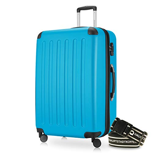 Hauptstadtkoffer - Spree Hartschalen-Koffer-XL Koffer Trolley Rollkoffer Reisekoffer Erweiterbar, 4 Rollen, TSA, 75 cm, 119 Liter, Cyan Blau inkl. Gepäckgurt