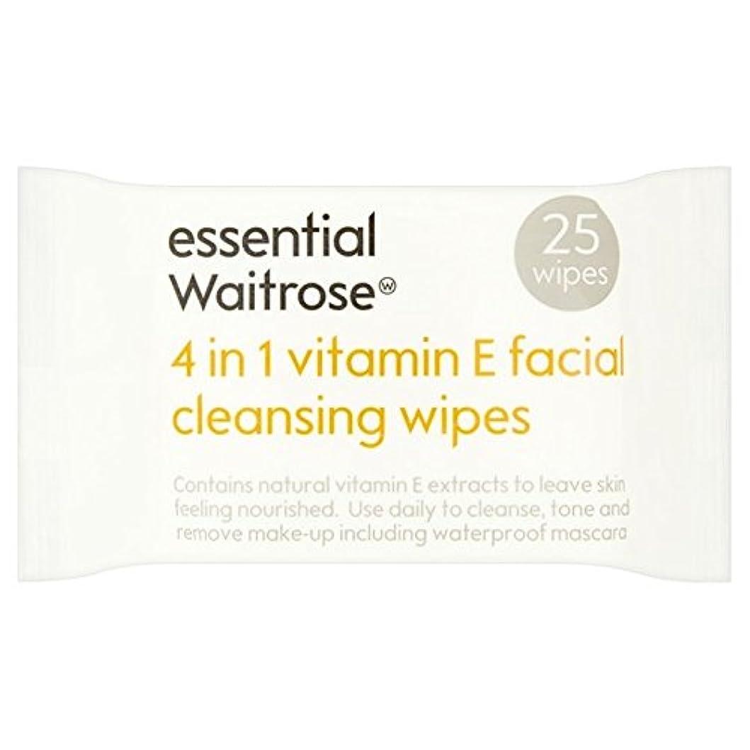 ランドリー湿気の多い感嘆Essential 4 in 1 Cleansing Wipes Vitamin E Waitrose 25 per pack (Pack of 6) - 1つのクレンジングで4不可欠パックあたりのビタミンウェイトローズ25ワイプ x6 [並行輸入品]