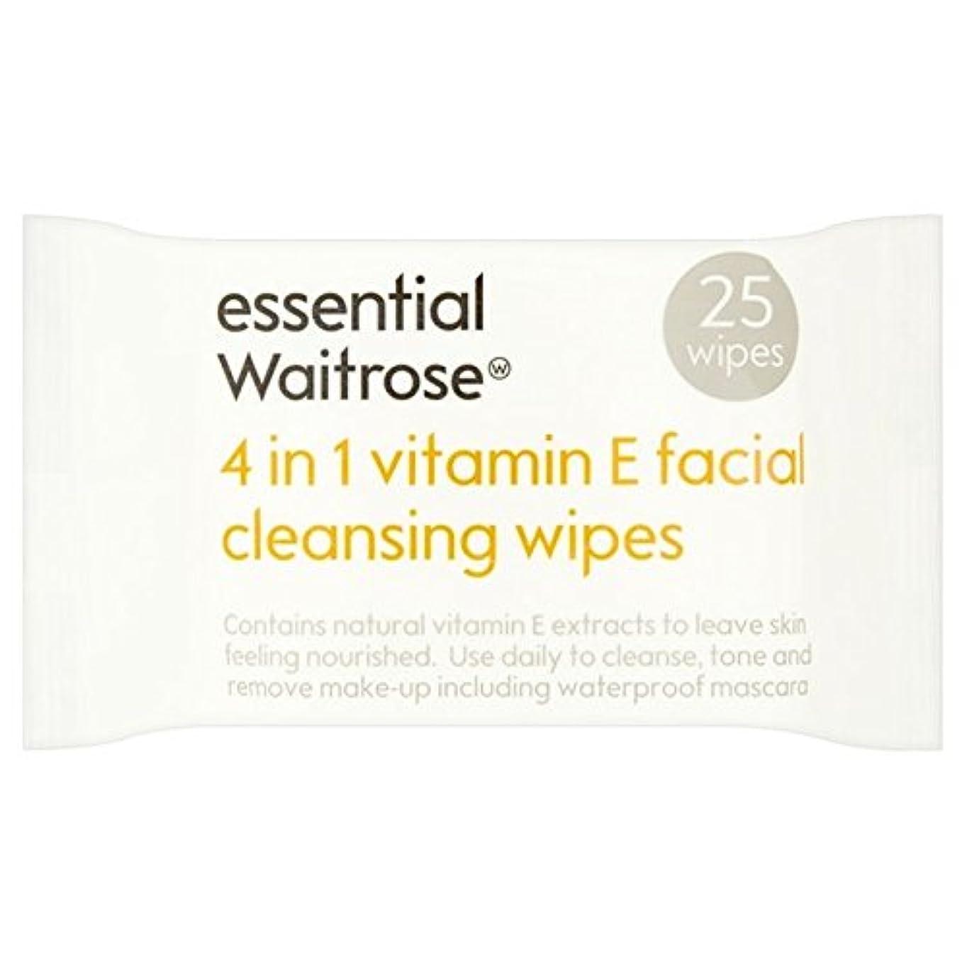静かな不適当巡礼者1つのクレンジングで4不可欠パックあたりのビタミンウェイトローズ25ワイプ x4 - Essential 4 in 1 Cleansing Wipes Vitamin E Waitrose 25 per pack (Pack of 4) [並行輸入品]