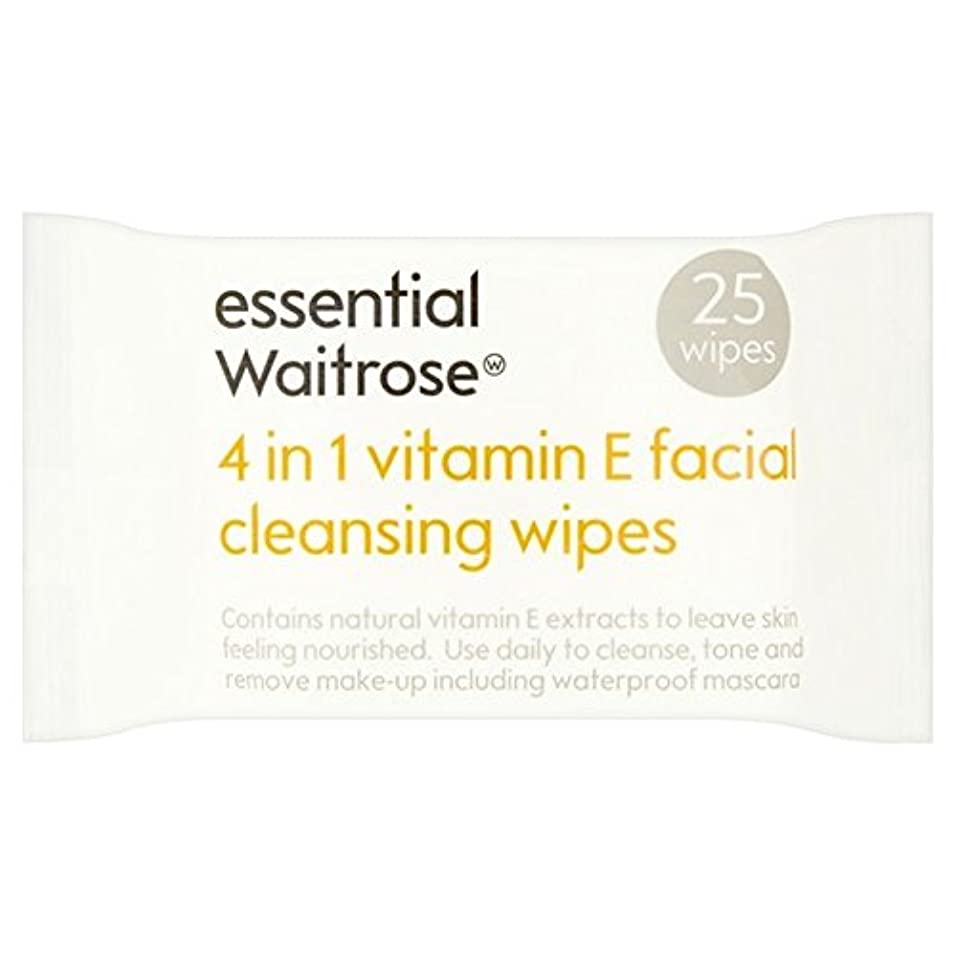 市場従順シェルターEssential 4 in 1 Cleansing Wipes Vitamin E Waitrose 25 per pack (Pack of 6) - 1つのクレンジングで4不可欠パックあたりのビタミンウェイトローズ25ワイプ x6 [並行輸入品]