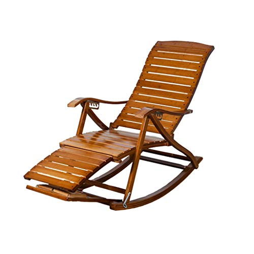 Silla mecedora de bambú, reclinable de madera maciza con respaldo para almuerzo, silla de jardín portátil ajustable con pies de masaje