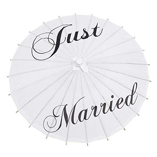Allsor Guarda-chuva branco de 3 tipos, guarda-chuva de papel branco, guarda-chuva de noiva com letras, adereços de dança portáteis para fotografia de casamento, acessório de fotografia de cena (casado)