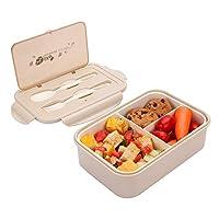 1050ml scatola da pranzo in plastica cachi, bento lunch box con 3 scomparti e posate (forchetta e cucchiaio), contenitore per il pranzo ideale per colazione e snack scolastici per bambini e adulti