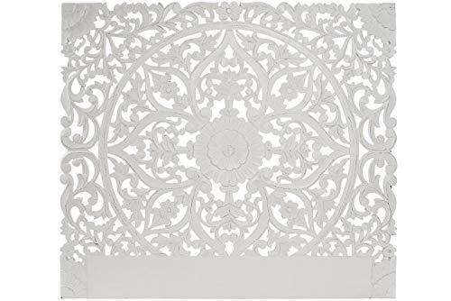 DRW Cabecero de Cama Calado de Madera MDF Calado en Blanco 160x3x140cm