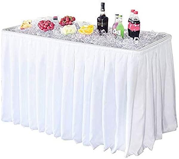 Vingli 4 尺派对冰柜折叠桌便携尾门野营钓鱼清洁桌塑料带配套裙白色
